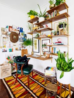 a boho-inspired work space styled with accessories and plants