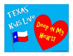 "Celebrate TEXAS HISTORY MONTH with this FREE ""TEXAS' Kids Live Deep in My Heart!"" Poster!  Print it on Cardstock and Laminate it for Long Life.Be sure to Follow My Store and check out my other TEXAS ITEMS!  Your Positive Feedback is always appreciated!TEXAS' Kids Live Deep in My Heart!"