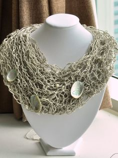 Fish Net Linen necklace with shells and pearls by Cynamonn