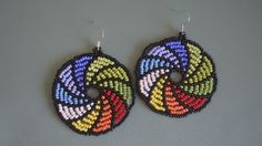 Beading Tutorial: a colourful pair of Umbrella Earrings