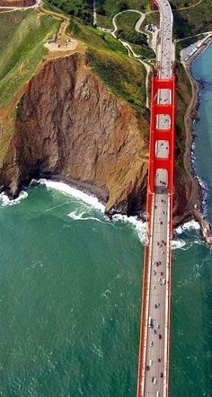 : Golden gate Bridge, San Francisco A nice view from sky. One of my many dreams come true.to cross the Golden Gate, in San Francisco. Places Around The World, Oh The Places You'll Go, Places To Travel, Places To Visit, Around The Worlds, Travel Destinations, Travel Stuff, Ponte Golden Gate, Golden Gate Bridge