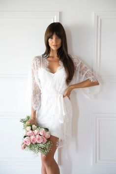 Audrey White Lace Robe | Elegant bridal robe trimmed with delicate ivory satin ribbon and finished with a grosgrain ribbon belt. Includes ivory slip.