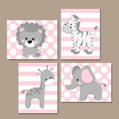 ★Baby Girl Nursery Wall Art, Pink Gray Nursery Artwork, Elephant Giraffe Zebra Lion, Safari Animals Decor Bedroom, Canvas or Print Set of 4 ★Includes 4 pieces of wall art ★Available in PRINTS or CANVAS (see below) ★SIZING OPTIONS Available from the drop down menu above the add to cart button with prices. >>> ★PRINT OPTION Available sizes are 5x7, 8x10, & 11x14 (inches). Prints are created digitally and printed with UltraChrome Hi-Gloss ink on professional 68lb satin luster pho...