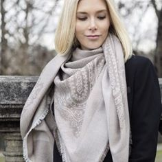 @styleplaza in our Lombardia scarf. The color nougat is back in stock again. #scarf #balmuir