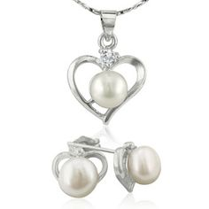 Heart Freshwater Pearl Necklace and Earrings