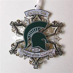 2015 Spartans Will Ornament Michigan State Football, Michigan State University, Snowflake Ornaments, Snowflakes, Msu Spartans, Alma Mater, Foil Stamping, Go Green, Birthdays