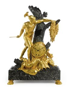 A Restauration ormolu and patinated bronze mantel clock depicting Jason and the Golden Fleece circa 1820, the dial signed Choiselat F. Quant de Bronzes du Garde Meuble, the movement signed lesieur