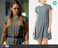 Dress by Boden, IDed by WornOnTV. [Kara's teal printed Thanksgiving dress on Supergirl.  Outfit Details: http://wornontv.net/54072/ #Supergirl]