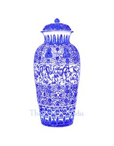 Such an elegant blue and white ginger jar giclee from The Pink Pagoda