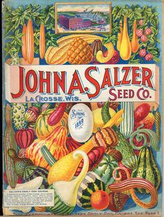 colorful vintage packaging, fruit and vegetables