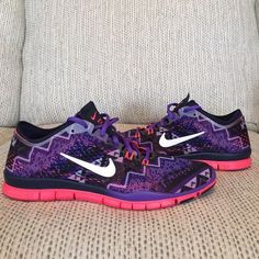 NEW SIZES (7, 8) Nike Free 5.0 TR FIT 4 in purple Aztec print. really cute, rare Nikes! All are brand new from Nike but come in half box (lid removed at store to showcase). NWT Nike Shoes Athletic Shoes