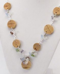 Sliced cork and bead necklace