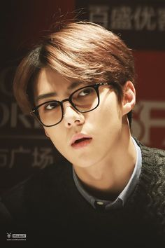 Sehun, he looks so cute with glasses. ^-^