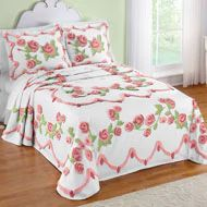 French Gardens Rose Pattern Chenille Bedspread - 34164