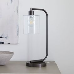 A built-in USB port makes our industrial-inspired Lens Table Lamp perfect anywhere—bedside, desk, family room—you want to stay connected (no charging block required! Best Desk Lamp, Contemporary Table Lamps, Modern Table, Modern Lamps, Bedroom Lamps, Bed Lamps, Bedroom Ideas, Master Bedroom, Tall Lamps