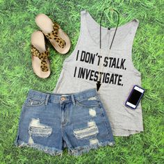 Shop this BRAND NEW I Don't Stalk Graphic Tank in Grey for ONLY $17! FREE SHIPPING ALWAYS!
