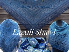 Een totaal eigen ontwerp door Annie Germeraad. Vernoemd naar de prachtige steen Lapis Lazuli Patroon met tekeningen. Own design, With charts Crochet Shawl, Shawls And Wraps, Lapis Lazuli, Crochet Clothes, Free Pattern, Beaded Bracelets, Knitting, Beanies, Shawl