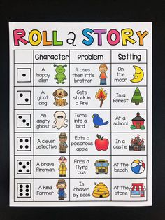 Roll a story writing center. Your students will have so much fun writing with these Roll-a-Story boards. Their creativity will be flowing after discovering which super fun character, problem and setting their story will be about. Writing Prompts For Kids, Cool Writing, Creative Writing, Writing Games For Kids, Art Games For Kids, Writing Process, Roll A Story, Story Dice, Kindergarten Writing