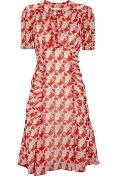Anna Sui Starprint Silkchiffon Dress in Red