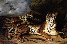 The Athenaeum - Étude de deux tigres (Eugène Delacroix - )