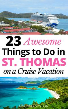 Are you going to St. Thomas on a Cruise? This caribbean island is truly a paradise, with so many amazing activities and excursions for solo travelers, families and couples. See the best beaches in St Thomas , as well as historic and cultural sights. Cruise Excursions, Cruise Destinations, Cruise Port, Cruise Tips, Cruise Travel, Cruise Vacation, Disney Cruise, Cruise Ship Reviews, Best Cruise Ships