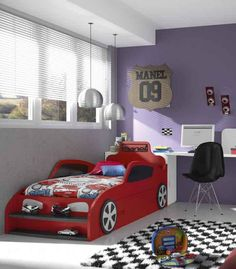 Boys Room Design, Bed Design, Baby Bedroom, Kids Bedroom, Kids Car Bed, Room Partition Designs, Toddler Rooms, Childrens Beds, Man Room