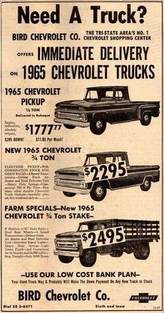 old ad - My Cute Trucks Ford Trucks, Chevy Pickup Trucks, Classic Chevy Trucks, Chevrolet Trucks, Classic Cars, Chevrolet Dealership, Chevrolet Camaro, Chevy C10, Chevy Pickups