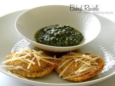 baked ravioli with pesto dipping sauce