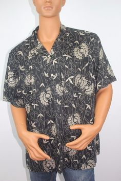 Polo Ralph Lauren Hawaiian Button Down Hawaian Shirt 100% Cotton, 2XL, Black  #PoloRalphLauren