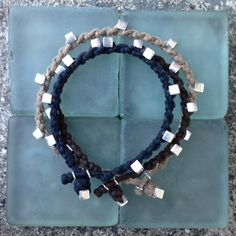 Colo 09 Sterling Silver .925 Beads Cotton Cord Bracelet Handmade (B109SS-C) by cololinks on Etsy