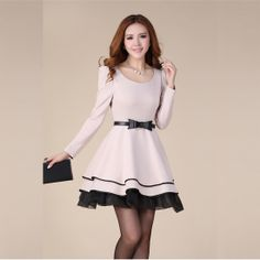 9bdb9d64d6 Amazing OL Style Bow Knot Puff Long Sleeves Bubble Sweet Korean Princess  Dress Vestidos Juveniles Cortos