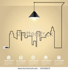 Cityscape with creative wire light bulb idea concept, Abstract modern design template workflow layout, diagram, step up options, Vector illu...