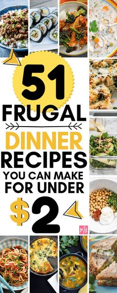 frugal dinner recipes to make under 2 dollars per meal inexpensive meals budget friendly healthy recipes cheap meals to make easy health recipes to make cheap dinner dollar store meal Cheap Meals To Make, Easy To Make Dinners, Inexpensive Meals, Food To Make, Easy Meals For Two, Cheap Meals On A Budget Families, Easy College Meals, Budget Dinners, Groceries Budget