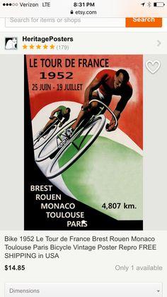 Bike 1952 Le Tour de France Brest Rouen Monaco by HeritagePosters Paris Vintage, Bike Poster, Vintage Cycles, Tours France, Tour Posters, Art Posters, Brest, Rouen, Bicycle Race