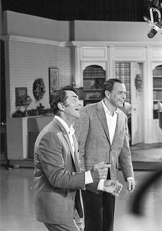 Frank Sinatra and Dean Martin in rehearsal for their Christmas special, 1967.