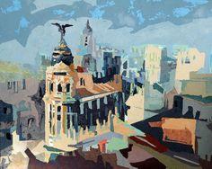 Comprar Tejados de Madrid - Pintura de Marcial Rincon por 1.900,00 EUR en Artelista.com, con gastos de envío y devolución gratuitos a todo el mundo