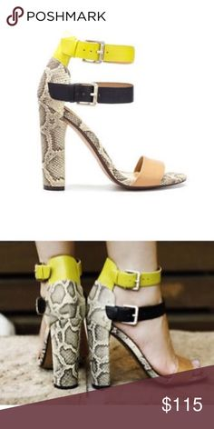 Zara Rare Snakeskin Print With Yellow Ankle Straps Zara collection Rare Snakeskin Print With Yellow Ankle Straps size 9 Zara Shoes Heels