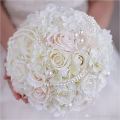 2017 Pearls Wedding Bouquet Handmade Bridal Holding Flowers Artifical Hydrangea Rose Bride Bridesmaid Bouquet Custom Ivory White Pink Silver Wedding Flowers Stop And Shop Wedding Flowers From Helaybridal, $69.35| Dhgate.Com
