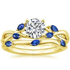 18K Yellow Gold Willow Ring With Sapphire Accents from Brilliant Earth