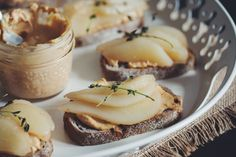 smoked cashew cheese toast with poached pear & fried thyme