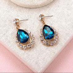 heart of ocean royal blue gemstone rhinestone clip earrings