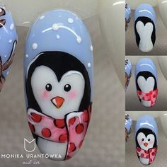 Pierwszy stepik: Pan Pingwinek  #nails #nailart #indigo #inspiration #instanails #penguin #snow #winter #art #stepbystep #tutorial #painting #winteriscoming