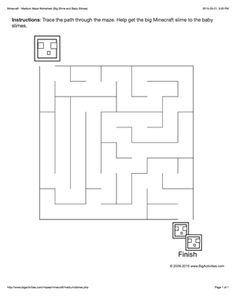 This Medium maze worksheet features a maze to trace your path through with a picture of a big Minecraft slime and 2 baby slimes to color. The maze worksheet is printable and the maze changes each time you visit. Worksheets For Kids, Kindergarten Worksheets, Activities For Kids, Minecraft Activities, 9 Video, Maze Worksheet, Maze Game, Minecraft Party, Preschool Printables