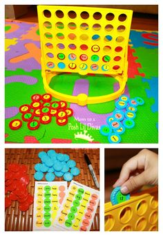 "Sight Word Connect Four - put sticky dots with letters on, on the counters. Great idea! ("",)"