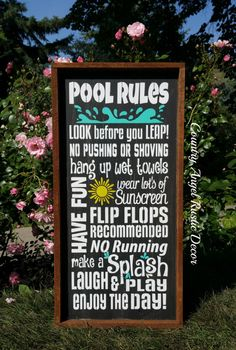 """Rustic ~Pool Rules~ Rustic Wood Typography/Subway wood sign 12""""x24"""", Outdoor Sign, Deck Sign, Backyard Sign, Swimming Pool Sign by CountryAngelRustic on Etsy https://www.etsy.com/listing/236515113/rustic-pool-rules-rustic-wood"""