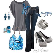 """Blue & Grey"" by tracireuer on Polyvore  - INSPIRED: teal multi dolman blouse, reg denim skinny jean, Teal bag, Tan flats, Teal / Gold jewelry"