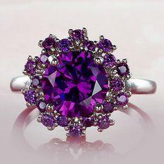 cool Fancy Flower Amethyst Gemstone Silver Jewelry Fashion Women's Ring Size 7 8 9 10 - For Sale