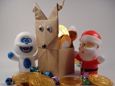 Origami Reindeer Container Christmas Decoration DIY  Each sheet of paper starts out 5.9 inches square. The head ends being 2.25 inches tall (bottom edge to tip of antler) and a little over 1.5 inches wide finished (unfolded - side to side is around 2.25 inches)www.DirkSpencer.Com;  http://www.resumepsychologythebook.com/;  http://resumekeywordsdecoded.teachable.com/;  https://www.amazon.com/dp/B01MZ2Q3DY;  https://www.amazon.com/dp/0692771840; http://www.amazon.com/dp/0692652698/;