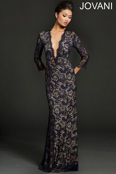 Lace Long Sleeve Evening Dress 23662