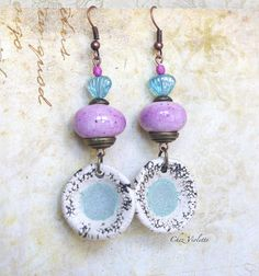 pink artisanal bead earring  dangle earring  by chezviolette